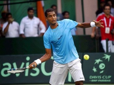 India's Ramkumar Ramanathan in action against Spain's Feliciano Lopez. PTI