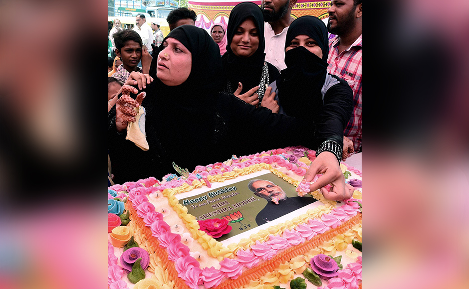 Muslim community celebrates PM Modi's birthday in Ahmedabad. PTI