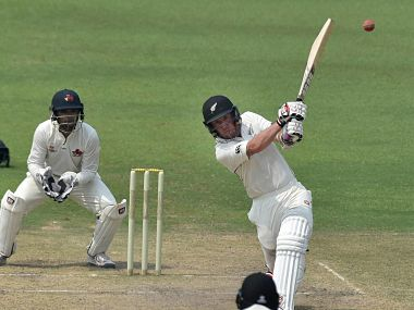 New Zealand's Luke Ronchi plays a shot during the practice match against Mumbai. PTI