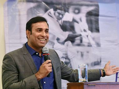 Former cricketer V V S Laxman addresses the 8th Dilip Sardesai Memorial lecture in Mumbai. PTI