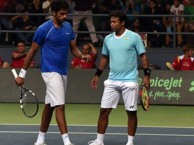 Leander Paes and Saketh Myneni in action at the Davis Cup. PTI