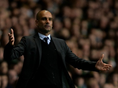 Manchester City manger Pep Guardiola reacts on the side line during the UEFA Champions League match between Celtic FC. Getty Images