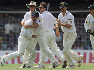 Ricky Ponting (L) celebrates taking the catch of Sachin Tendulkar during day 3 of first test at the Wankhede Stadium in Bombay March 1, 2001. Reuters