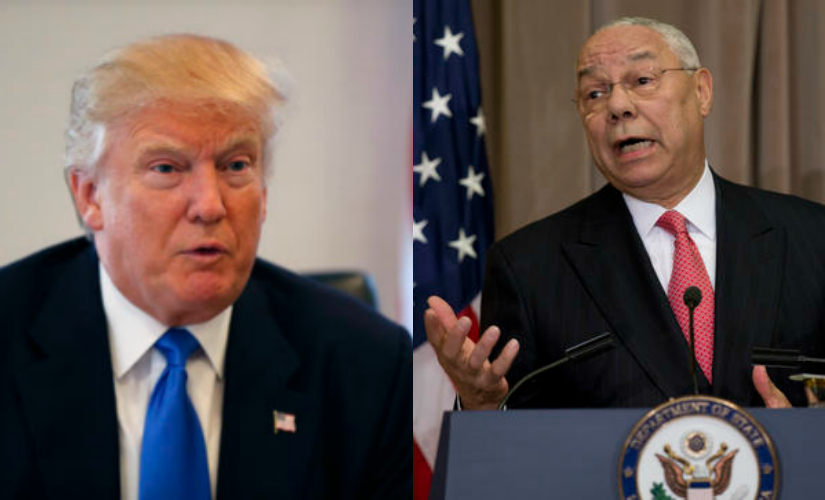 (L to R) Donald Trump and Colin Powell. AP