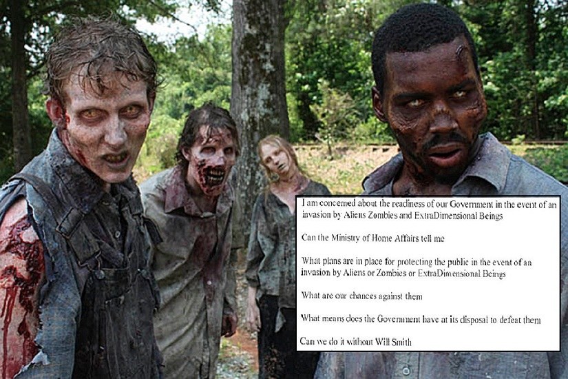An RTI filed by this writer about our government's preparedness to deal with a zombie or alien invasion went viral on social media