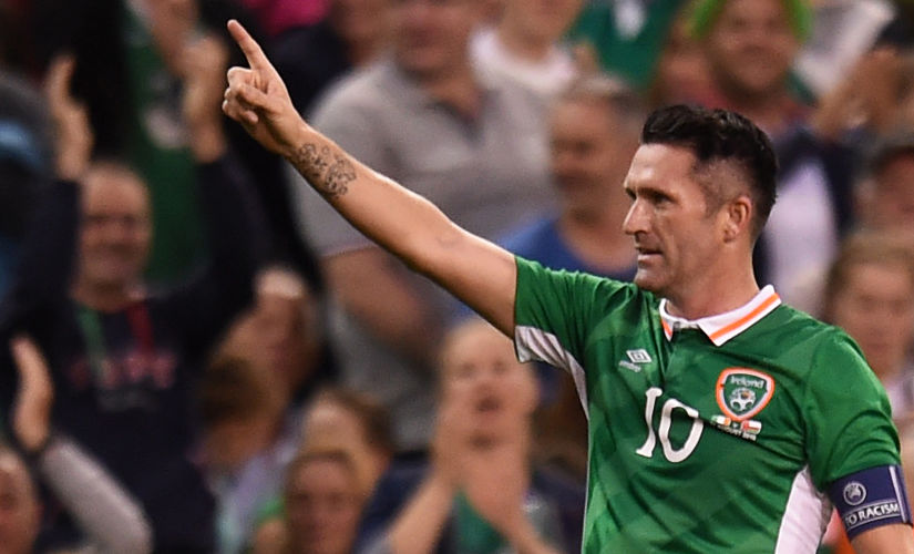Republic of Ireland's Robbie Keane celebrates scoring their second goal. Reuters