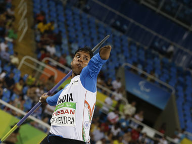 India's Devendra Jhajharia competes in the men's javelin throw F46 final. AP