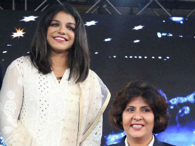 Sakshi and Deepa Malik (right) pose together at a recent event. PTI