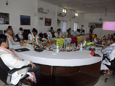 Assam Chief Minister Sarbananda Sonowal chairing a cabinet meeting in the new district of Majuli on 8 September, 2016. Image courtesy Sonowal's Facebook page