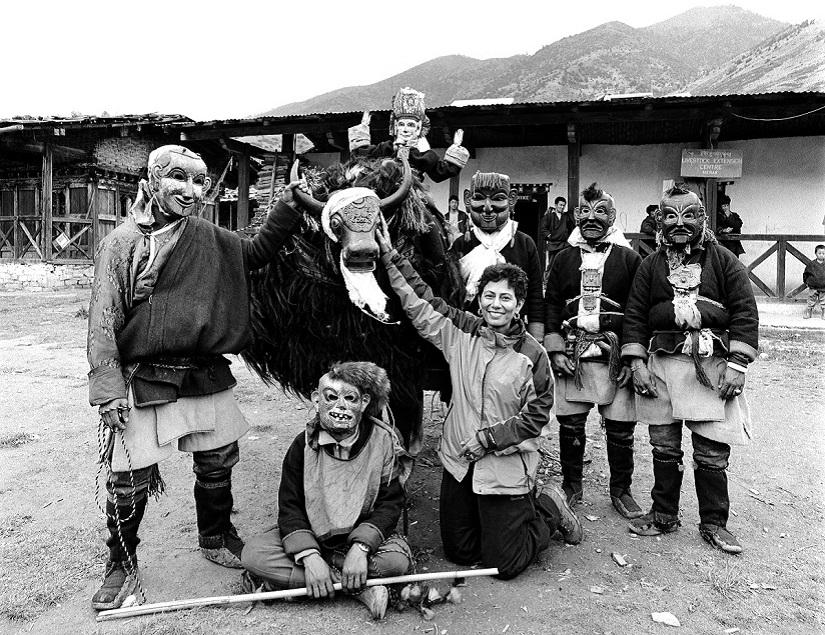 Serena Chopra with Brokpa performers in Merak Village, East Bhutan, 2004