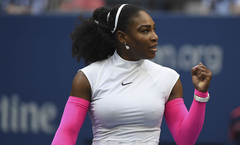 Serena Williams of United States reacts after defeating Yaroslava Shvedova of Kazakhstan. AFP