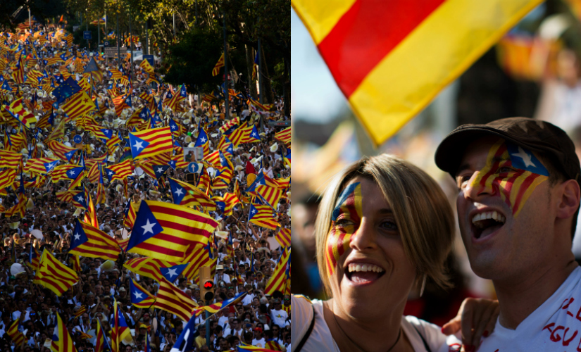 Huge crowds gathered in Barcelona demanding independence from Spain. AP