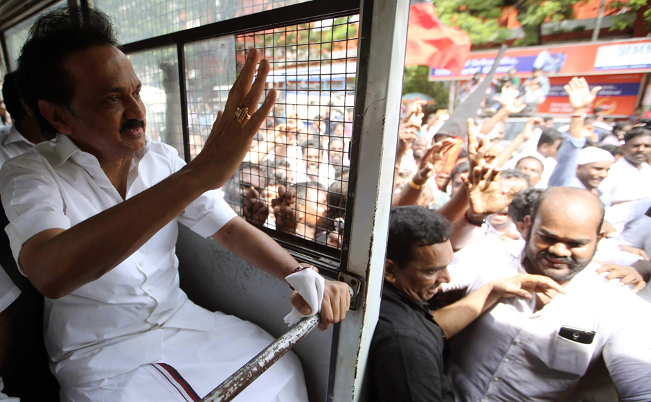 DMK leader MK Stalin was among many other leaders who were detained on Friday whlie protesting during the day long bandh over the Cauvery dispute. V Srinivasulu