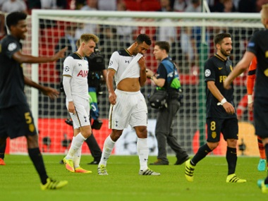 Tottenham Hotspur's players are dejected after their 2-1 defeat to Monaco. AFP