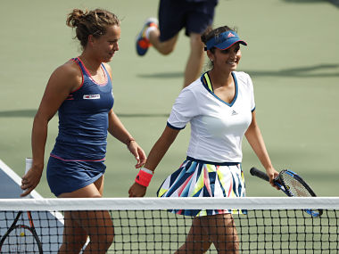 Sania Mirza and doubles partner Barbora Strycova, of the Czech Republic. AP
