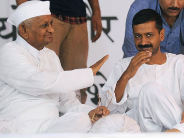 A picture of Anna Hazare (left) with Arvind Kejriwal during the India Against Corruption movement. AFP