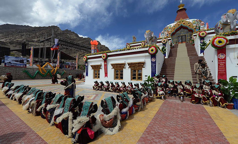 Performers wait to dance during the Naropa festival at Hemis Monastery. Reuters