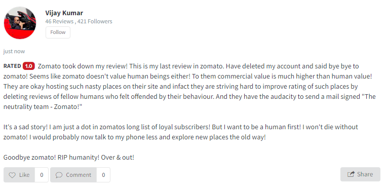 Screenshot taken from Mocambo's page. Zomato