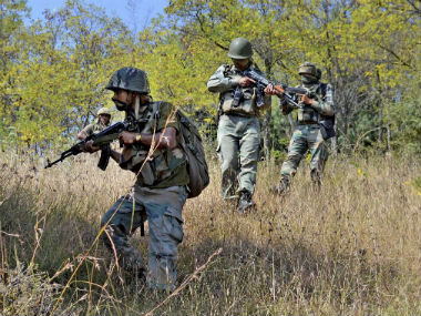 CRPF personnel during a combing operation. PTI