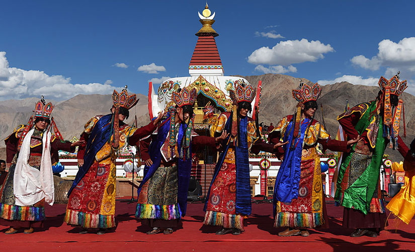 Dancers perform during the Naropa festival, a Buddhist gathering that takes place once every twelve years at Hemis village in Leh. Reuters