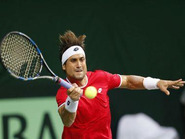Spain's David Ferrer plays a shot in his Davis Cup men's tie against India's Saketh Myneni. AP