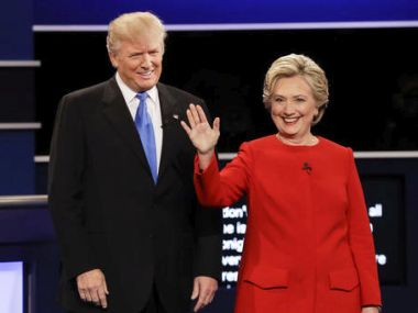 Donald Trump and Hillary Clinton at the presidential debate. AP