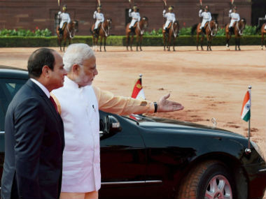 President alSisi in New Delhi India Egypt agree to step up defence security cooperation