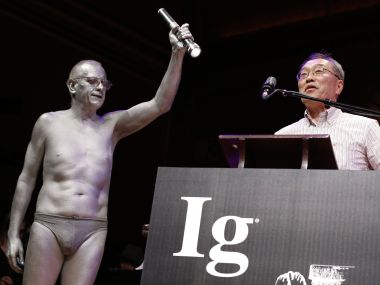 Atsuki Higashiyama, from Ritsumeikan University in Japan, speaks after receiving the Ig Nobel Perception Prize during ceremonies at Harvard University in Cambridge on Thursday. AP