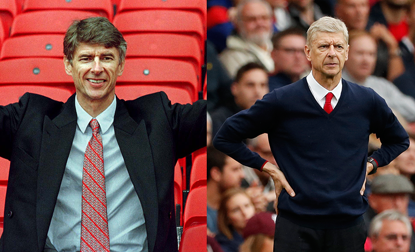 Arsene Wenger (L) when he was announced as Arsenal's manager in 1996 and (R) during the 2016 season. Reuters
