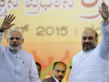 Prime Minister Narendra Modi with BJP chief Amit Shah. AFP