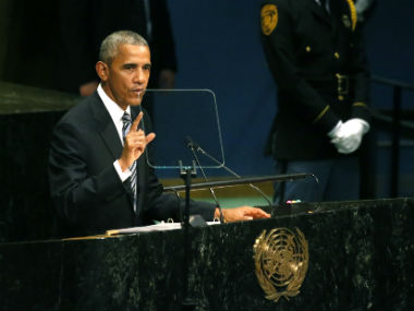 President Barack Obama delivering his last address at the UNGC. Reuters