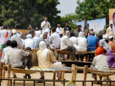 Rahul Gandi during his khat sabha. PTI