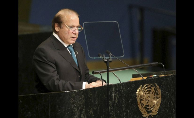 Pakistani Prime Minister Nawaz Sharif speaks during the 71st session of the United Nations General Assembly. PTI
