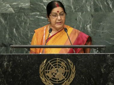 External Affairs Minister Sushma Swaraj addressing the UNGA in New York. PTI