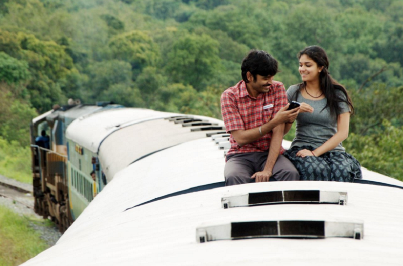 Dhanush and Keerthi Suresh in a still from 'Thodari'