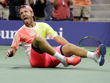Lucas Pouille reacts after beating Rafael Nadal. AP