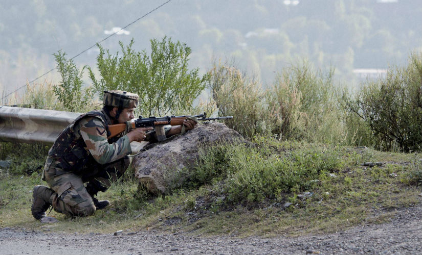 Indian jawan outside the camp after the Uri attack. PTI