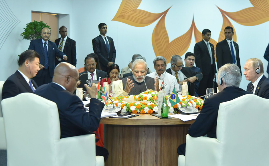 PM Modi held the first formal engagement – the Leaders' Restricted Meeting – and mentioned that non-conventional security challenges, from threats to cyberspace and piracy on high seas to human trafficking. (Photo: Twitter @MEASwrup)
