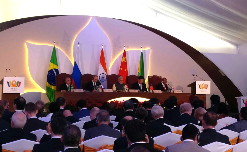 "At the Brics Business Council meet, PM Modi said, ""We would encourage the BRICS Business Council to work closely with the NDB on identifying and implementing prospective economic projects."" The 8th summit of the Brics nations was conducted on 15-16 October in Goa. (Photo: MEAIndia)"