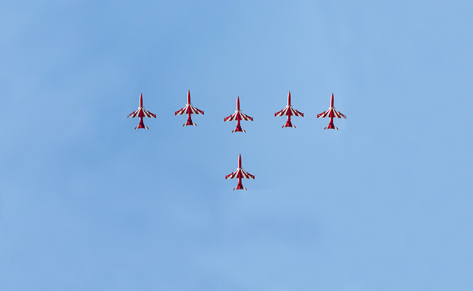 The event also was the first Air Force Day to have a foreign Air Force - the Red Arrows of UK's Royal Air Force, scheduled to perform. However, the Red Arrows, who fly Hawk jets, could not perform due to a haze that caused poor visibility. Naresh Sharma
