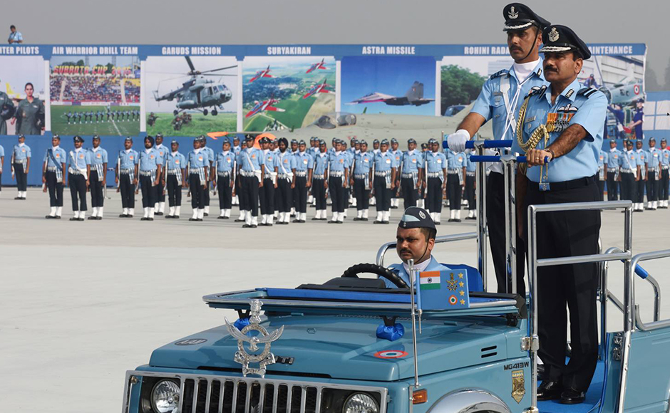 """Indian Air Force chief Arup Raha inspects theparade at the 84th Air Force Day celebrations. In his customary address at the celebrations, Raha, who is also the chairman of the Chiefs of Staff Committee said,""""We continue to train to take up any threat and are fully prepared to undertake any challenge in most befitting manner."""" Naresh Sharma"""