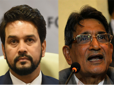 File photo of Anurag Thakur and Justice Lodha.