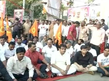 RSS workers during the protest. CNN-News18
