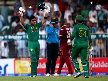 Babar Azam celebrates after reaching his century. Getty Images