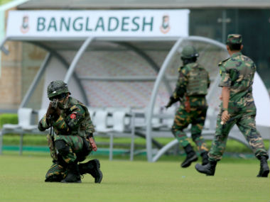 Bangladeshi commandoes participate in a mock drill at the Sher-e-Bangla stadium in Mirpur ahead of the 1st ODI. AFP