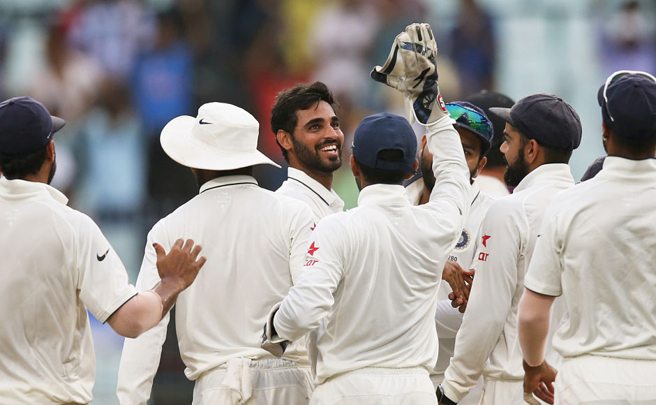 Bhuvneshwar made good use of the overcast conditions really well and this was his first five-for in India. New Zealand ended the day on the back foot at 128/7, still trailing by 188 runs. AP