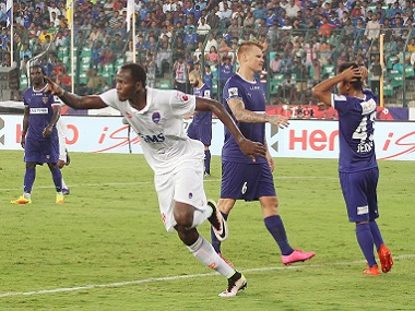 Badara Badji of Delhi Dynamos celebrates scoring during an ISL match. Sportzpics