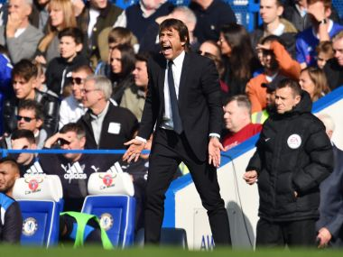 Chelsea coach Antonio Conte during their Premier League game against Leicester City. AFP