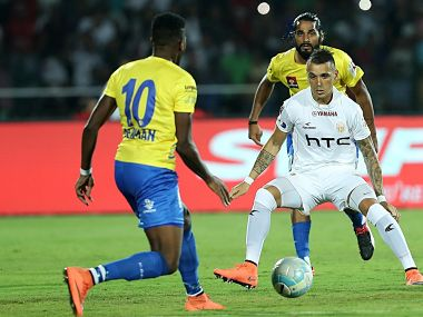 Kerala Blasters in action during their opening game against NorthEast United FC. Image courtesy: Twitter/ @IndSuperLeague