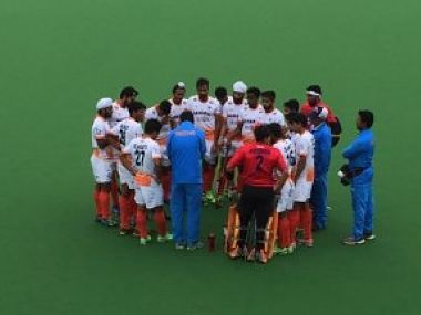 India's junior men's hockey team in a hurdle during their match against NSW . Image courtesy: Twitter/Verified account @TheHockeyIndia